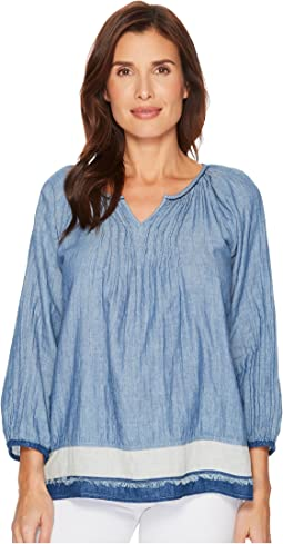 Luxe Denim Double Cloth Pintuck Blouse with Border and Fringe