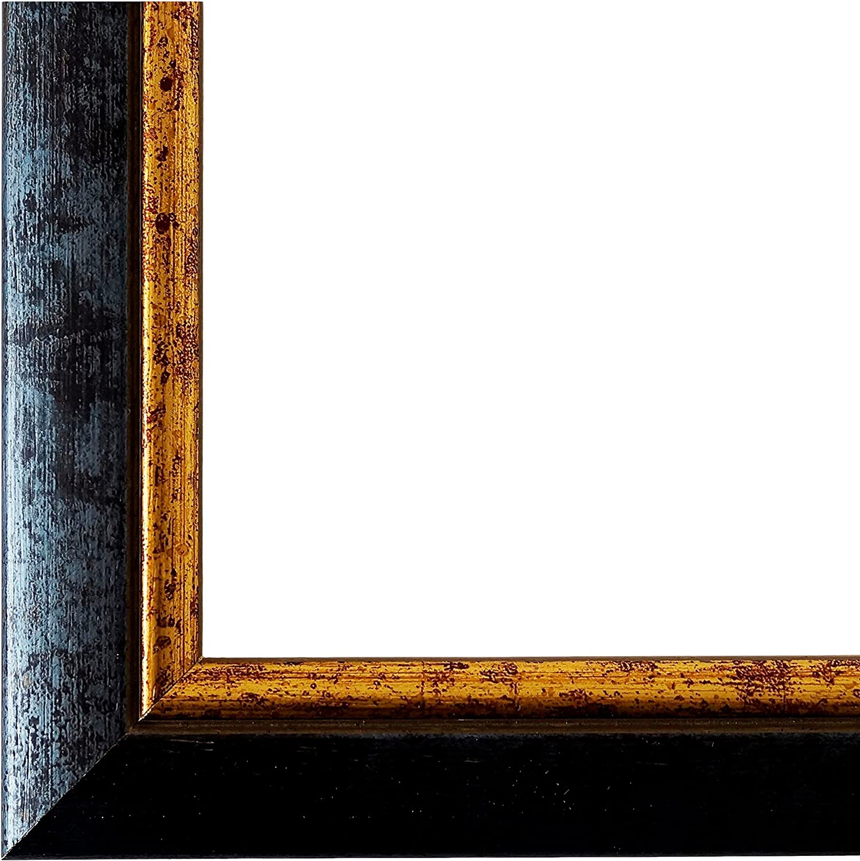 Bilderrahmen Blau Gold 30 x 40 cm - Modern, Klassisch - Alle Gren - handgefertigt - Galerie-Qualitt - WRU - Perugia 4,0