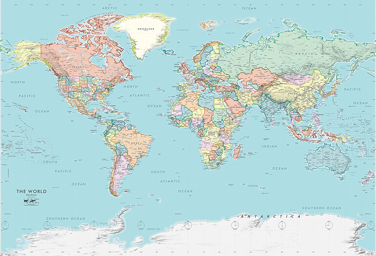 Academia Maps - World Map Wall Ocean Detailed Sale special price Mural New product type Blue Polit