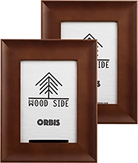 Wood Side Orbis 5x7 Picture Frames 2 Pack - Wall Hanging and Tabletop Display, Wide Molding with Glass Front - Brown