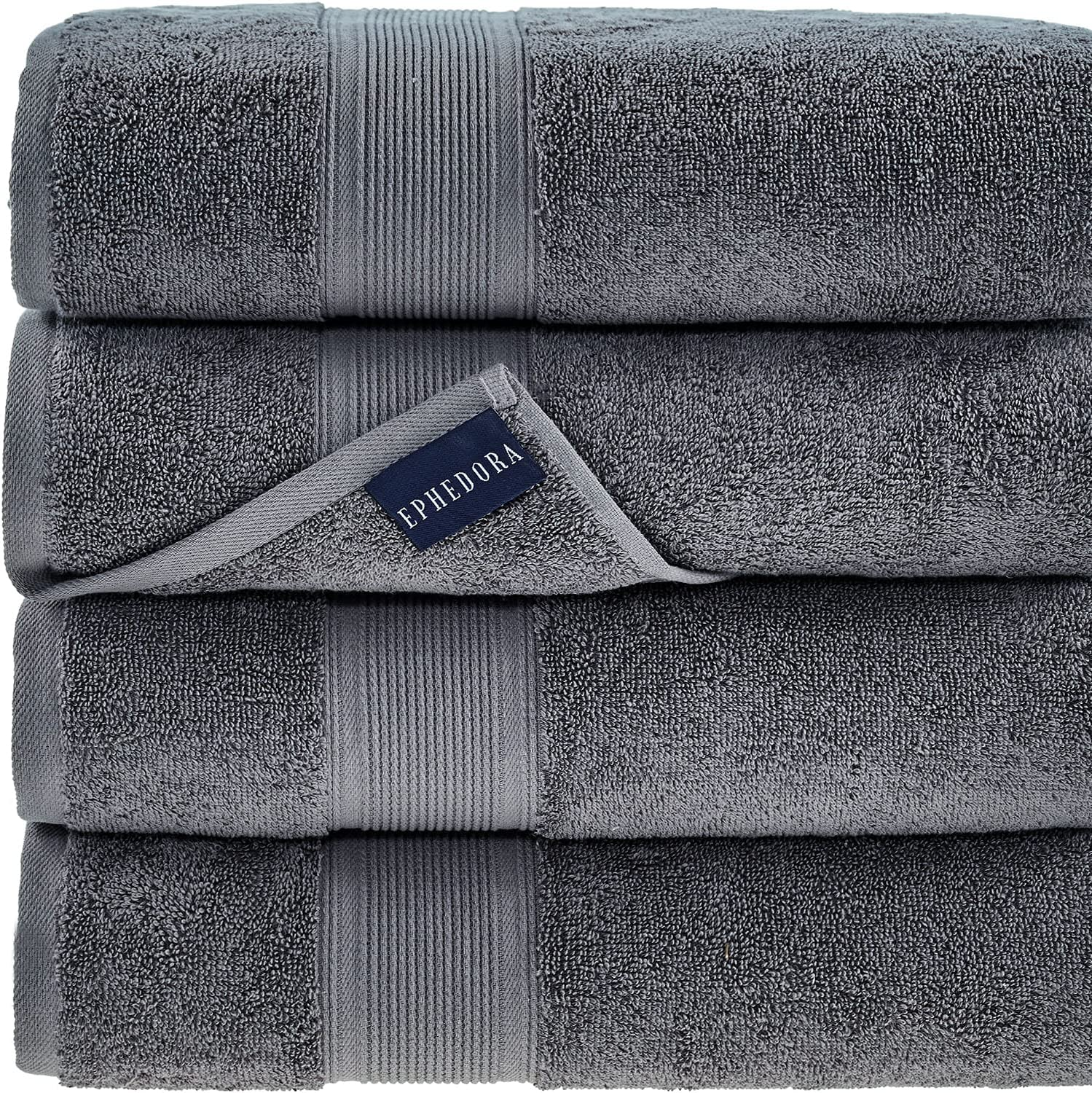 Turkish Cotton Bath Towels Light Grey | 600 GSM | Set of 4 Luxury Bath Towels | Large Sized for Hotels, Home, SPA, Gym | 27
