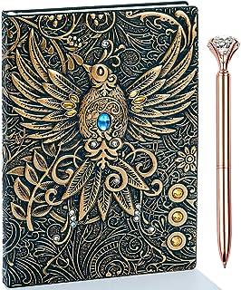 دفترچه یادداشت ژورنالی چرمی 3D ققنوس با مجموعه قلم ، دفترچه یادداشت روزانه چرم دست ساز عتیقه ، دفتر خاطرات سفر