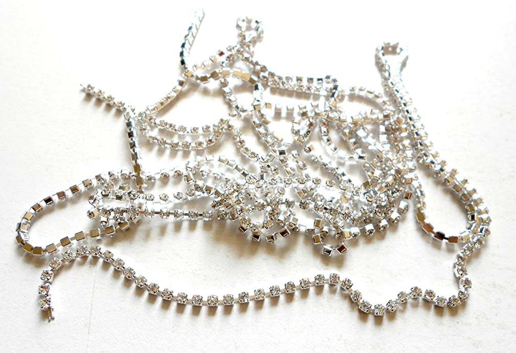 GOELX Stone Chain / Rhinestone Cup Chain in Silver Colour For Jewellery Making