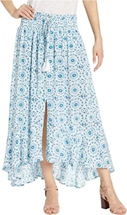 Printed Crinkle Gauze Pull-On Skirt with Smocking Waistband