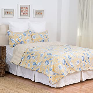 C&F Home Taupe Shells 3 Piece Quilt Set All-Season Reversible Bedspread Oversized Bedding Coverlet, Full/Queen Size,
