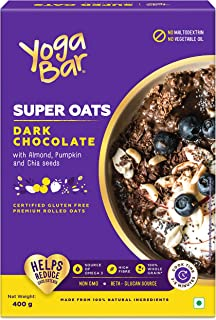 Yogabar Dark Chocolate Oats 400g | Gluten Free Golden Oats | Healthy Breakfast Cereal with Wholegrain Oats