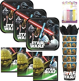 Lobyn Value Pack Classic Star Wars Party Plates Napkins and Cups Served 16 with Birthday Candles - Star Wars Party Supplies (Bundle for 16)