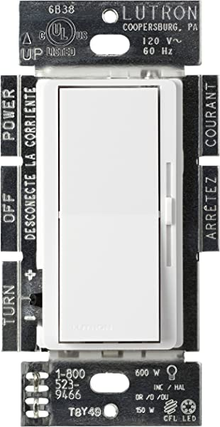 Lutron Diva C L Dimmer For Dimmable LED Halogen And Incandescent Bulbs Single Pole Or 3 Way DVCL 153P WH White