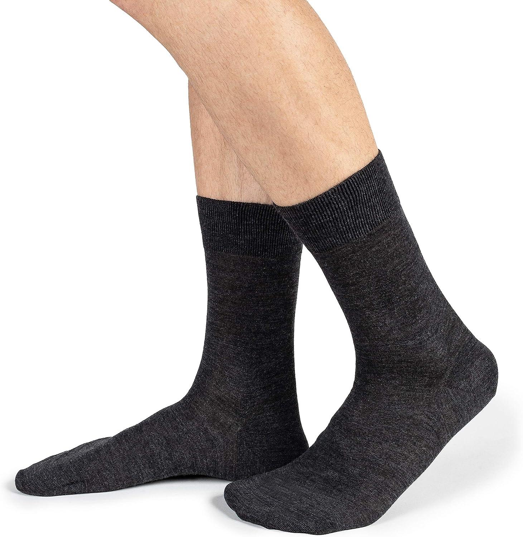Ciocca Merinos Wool and Inexpensive Silk Men's Crew - Socks 5 Pa Plain Be super welcome Dress