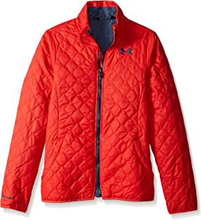 Girls ColdGear Infrared Hillcrest Hooded Shell, Pomegranate (693)/Mechanic Blue, Youth Small