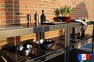 cocina de exterior 2.8 kw M10i gris antracita lijado Camps Teppanyaki grill de inducción (114 x 60 x 90 cm)
