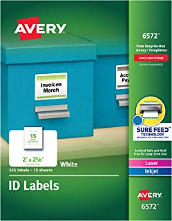 Avery White Permanent ID Labels for Laser and Inkjet Printers, 2 x 2 5/8 Inch, Pack of 225 (6572) 15 sheets