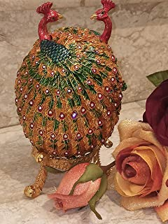 Easter Housewarming gift for couples Imperial Peacock Ornament Trinket Faberge style Egg present Designer HANDCRAFTED Egg ...