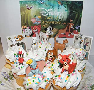 Dumbo Movie Cake Toppers, The Fox and the Hound Cake Toppers, the Aristocats Cake Toppers, 101 Dalmations Deluxe Cake Toppers Cupcake Decorations Set of 12