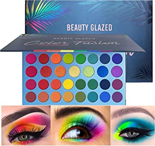 Beauty Glazed Rainbow Colors Fusion Eyeshadow Palette 39 Shades Metallic Shimmer Palette Long Lasting Eye Shadow Pallet High Pigment Makeup Palette for Party