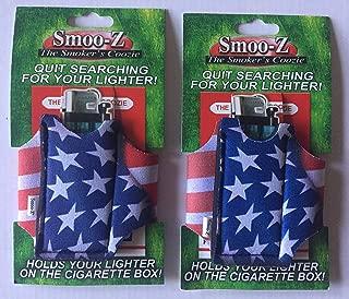 2 Smoo-Z Smoker's Coozie Cigarette Case & Lighter Holder American Flag(R. W. B)