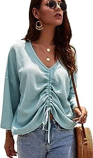 SweatyRocks Women's V Neck Drawstring Front Long Sleeve Waffle Knit Sweater Top