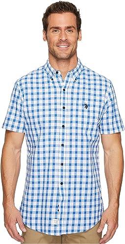 Short Sleeve Classic Fit Plaid Shirt