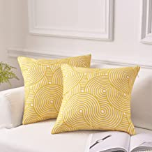 MoMA Decorative Embroidered Wave Throw Pillow Covers (Set of 2) - Pillow Cover Sham Cushion Cover - Throw Pillow Cover - Sofa Throw Pillow Cover - Square Pillowcase - Yellow - 18 x 18