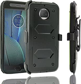 Moto G5S Plus Case, Customerfirst Hybrid Heavy Duty Dual Layer Shockproof [Swivel Belt Clip] Holster with [Kickstand] Combo Rugged Protective Case Cover for Motorola Moto G5S Plus / XT1806 (Black)
