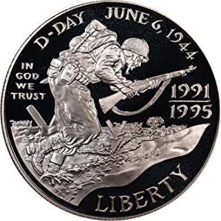 1991-1995 World War II Dual-Dated 50th Anniversary Commemorative Proof Silver Dollar DCAM US Mint
