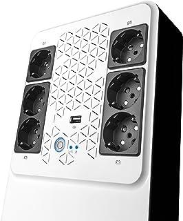 Legrand UPS BTicino 310082 Gruppo di Continuità New Keor Multiplug con Caricatore USB, 800 VA/480 W, 6 prese multistandard