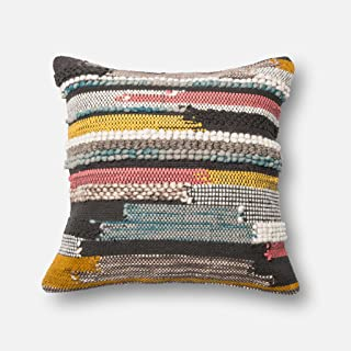 "Loloi P0094 Wool, Cotton & Chindi Pillow Cover, 22"" x 22"", MULTI"