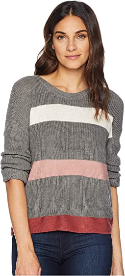 Scoop Neck Drop Shoulder Long Sleeve Meet and Greet Pullover Sweater w/ Stripes