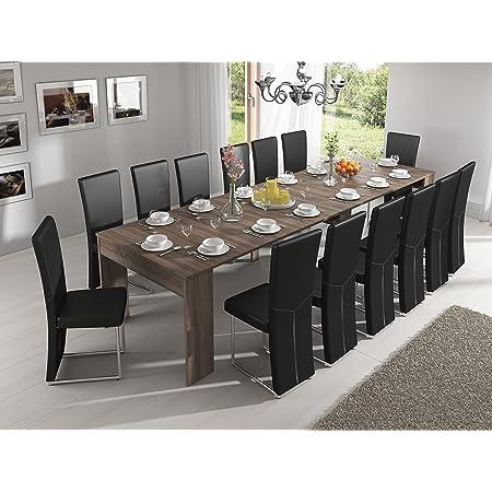 Skraut Home - Table Console Extensible avec rallonges, jusqu'à 301 cm, Salle à Manger - séjour, chêne foncé brossé. Jusqu´à 14 pers.