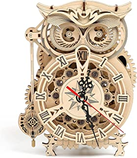 Thinas Owl Clock - 3D Puzzle, Wooden Toys, Craft Kits, DIY Model Gift for Adults; Brain Teaser Puzzles STEM Building Model Toy Gift for Teens (161 PCS)