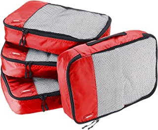 AmazonBasics 4 Piece Packing Travel Organizer Cubes Set - Medium, Red