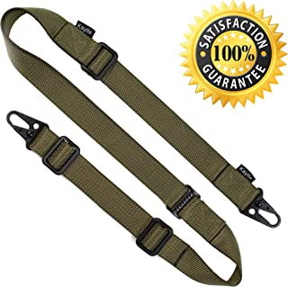 KAYLLE 2-Point Rifle Sling - Premium Shotgun Sling with Upgraded Metal Hook Fits Any Weapon - Durable & Quick Length Adjust - Multi Use for Tactical, Hunting, Sniper, Shooting & Emergency Situations