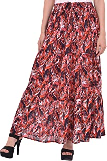 COTTON BREEZE Women's Printed Cotton Skirt Red