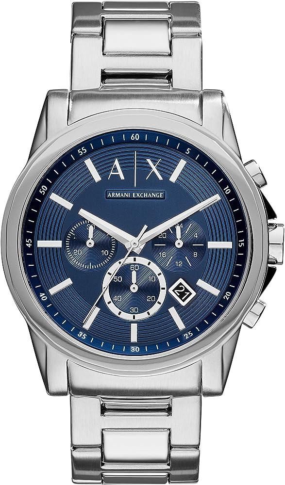 Armani exchange, orologio, cronografo per uomo, in acciaio inossidabile AX2509