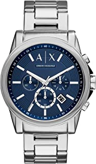 Armani Exchange Men's Outerbanks Stainless Steel Watch, Color: Silver/Blue (Model: AX2509)
