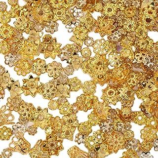 【京珠堂】座金 ビーズ アクセサリーパーツ 50g 金古美 アソートセット ゴールド シルバー (ゴールド)