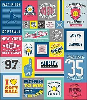 Riley Blake Varsity Softball 56in Panel Grey Fabric