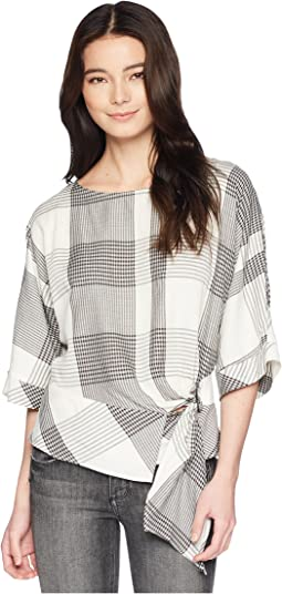 Vince Camuto Specialty Size Petite Oversized Plaid Dolman Sleeve Side Tie Blouse