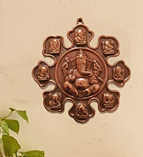 Handicrafts House Metal Ashtavinayaka Brown Ashta Ganesh Wall Plate Design Antique Handicraft Wall Hanging One Piece Art S...