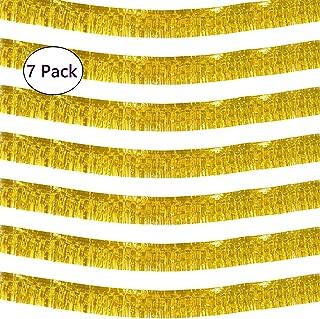 10 Feet Long Roll Gold Foil Fringe Garland - Pack of 7 | Shiny Metallic Tassle Banner | Ideal for Parade Floats, Bridal Shower, Bachelorette, Wedding, Birthday | Wall Hanging Fringe Garland Banner