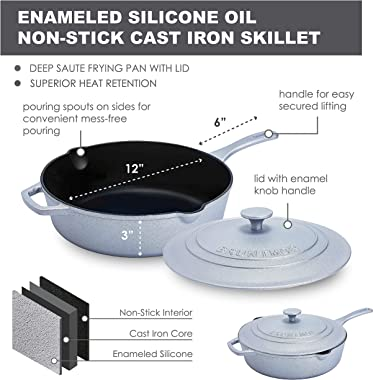 Enameled Silicone Oil Non-Stick Cast Iron Skillet -Deep Sauté Frying Pan with Lid, 12 Inch, Superior Heat Retention (Silver)