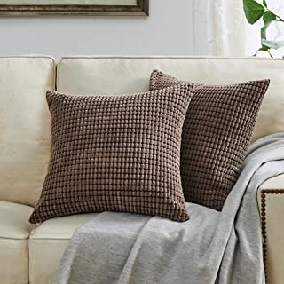 BEBEN Throw Pillow Covers - Set of 2 Pillow Covers 22x22, Decorative Euro Pillow Covers Corn Striped, Soft Corduroy Cushion Case, Home Decor for Couch, Bed, Sofa, Bedroom, Car (Brown, 22x22)