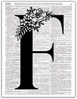 F - Monogram Wall Decor, Letter Wall Art, Dictionary Page Photo Art Print, 8x10 UNFRAMED