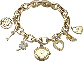Women's 10-7604CHRM Swarovski Crystal Gold-Tone Charm Bracelet Watch