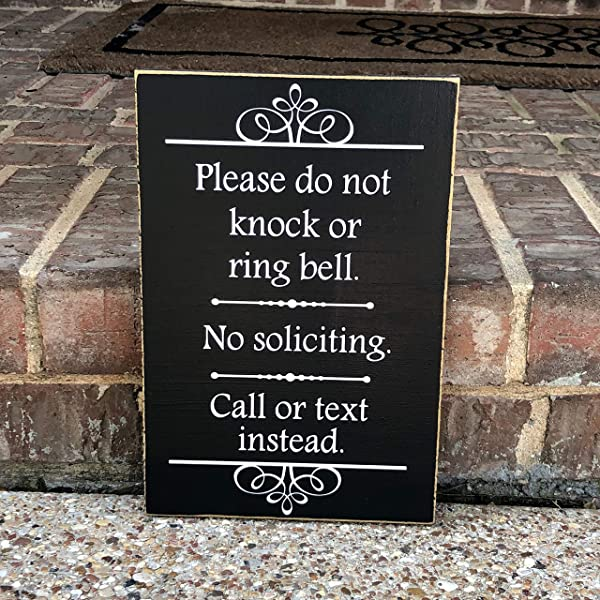 Ruskin352 No Soliciting Sign No Solicitation Sign Please Dont Knock Custom Wood Sign Door Sign Baby Sleeping Front Porch Sign