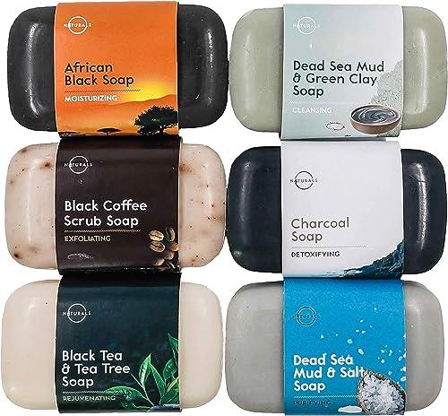 Coffret Luxueux Sélection 6 Meilleurs Savons Noir Naturels 100%Vegan aux Huiles Essentielles Thérapeutiques Soin Acne...