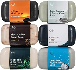 O Naturals 6-Piece Black Bar Soap Collection. 100% Natural. Organic Ingredients. Helps Acne, Repairs Skin Moisturizes, Dee...