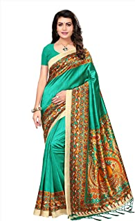 Oomph! Women's Mysore Silk Printed Kalamkari Sarees with Tassles