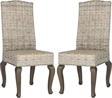 Safavieh Home Collection Milos White Wash Wicker 18-inch Dining Chair (Set of 2)