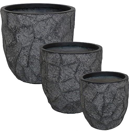 Sunnydaze Homestead Fiber Clay Planter Flower Pot, Durable Indoor/Outdoor 12-Inch, 15-Inch and 17-Inch 3-Piece Set, Dark Gray Carved Stone